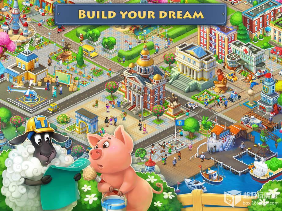 《梦想小镇 Township》是一款比较传统的农场类模拟经营游戏,玩家围绕一个农业小镇发展种植、养殖、建设城市然后开展农业贸易。游戏的主旨就是将一个个独立的农业经营联系成一套完整的产业链,增加收入,扩充地盘,让自己的小镇变得更加繁荣。 游戏采用清新可人的 2D 画风,建筑、树木和人物的造型都比较卡通,背景音乐也很悦耳,还惨杂着鸟叫声,仿佛真正置身于一个广阔自由的大庄园中。游戏支持原生中文,所以玩起来可以很快地上手,和早期的模拟经营作品一样带有一点收缩性,也就是说经营的内容无论如何扩展,最终都会回归到唯一