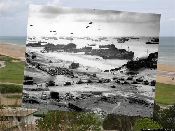 """2014年5月7日,法国科勒维尔海滩的景象。同一地点在诺曼底登陆中的代号为""""奥马哈""""海滩,黑白照片中展示的是经过激战后终于打开登陆场的""""奥马哈""""滩头,云集的美国登陆舰,拍摄于1944年6月6日.jpg"""