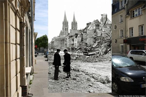 2014年5月5日法国卡昂市比约克街的景象。黑白照片拍摄于1944年7月10日.jpg
